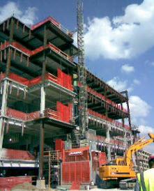 Construction Hoist at Ball Memorial Hospital