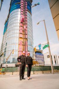 Pink Construction Hoist By Metro Elevator